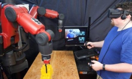 Teleoperating robots with virtual reality: Making it easier for factory workers to telecommute