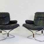 Pair Of Ingmar Relling Chrome And Leather Sling Chairs For