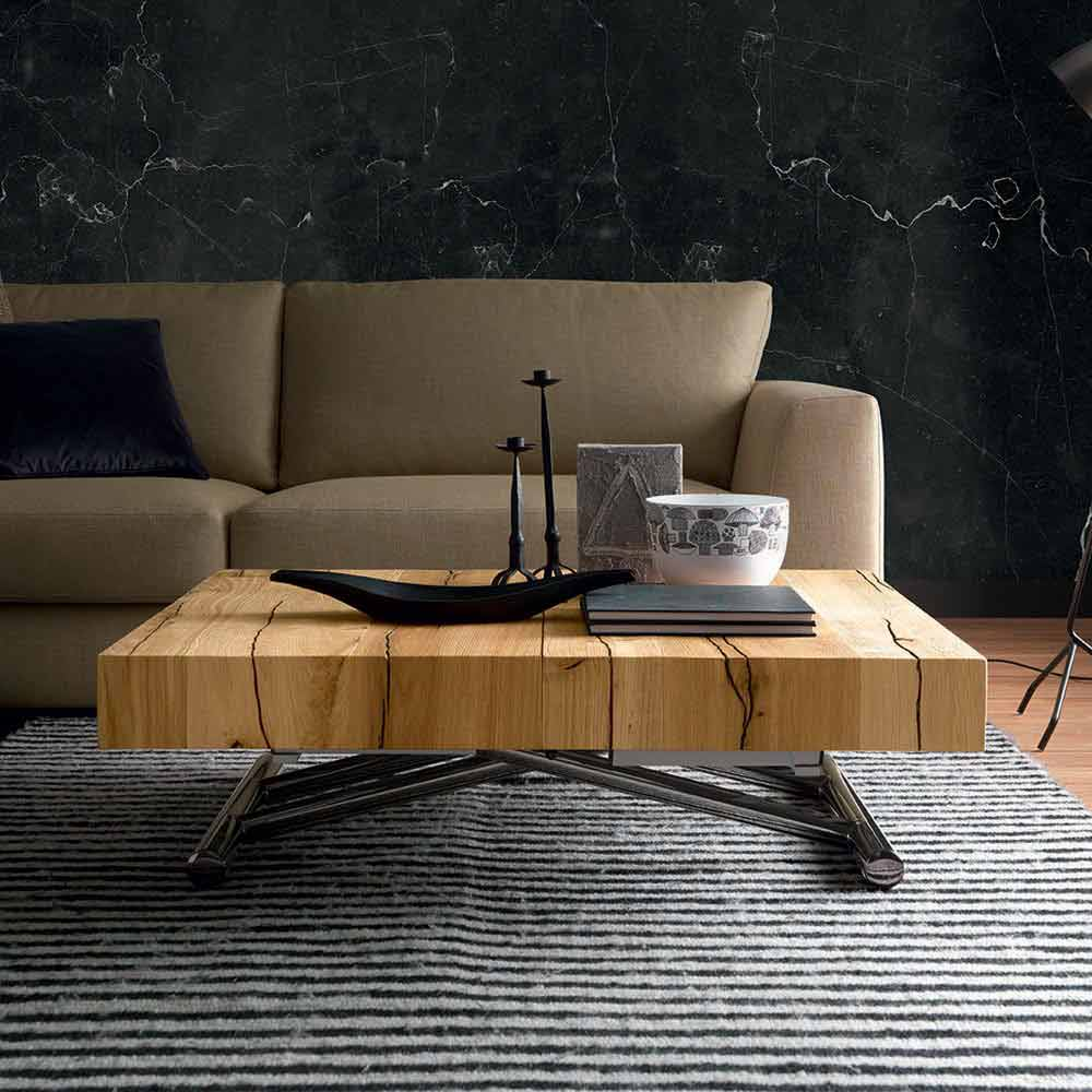 transforming coffee table in solid wood made in italy
