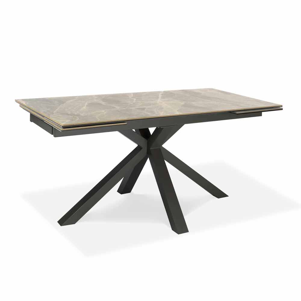 extendable dining table up to 240 cm in metal and ceramic laryssa