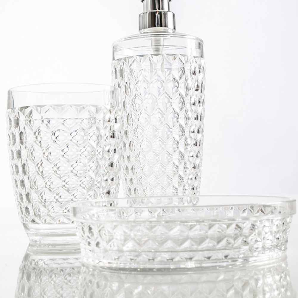 modernes set fur badspender glas seifenhalter netro