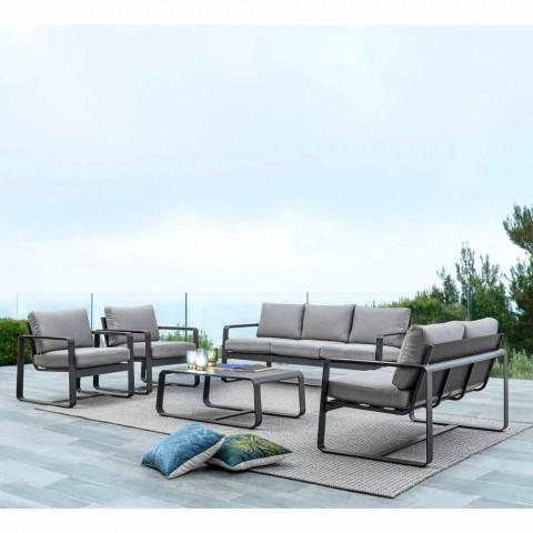 2 sitzer outdoor sofa aus aluminium mit stoffkissen mirea