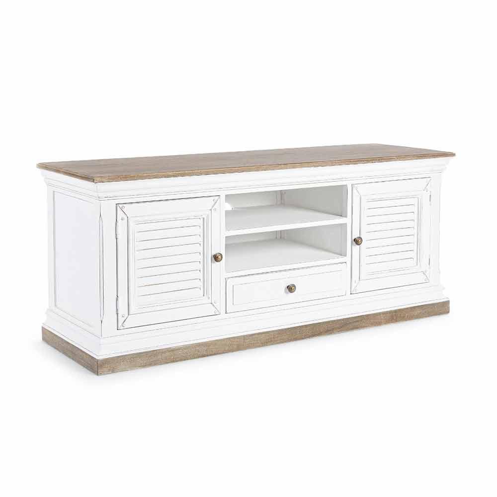 meuble tv classique en bois et mdf avec poignees en fonte homemotion baffy