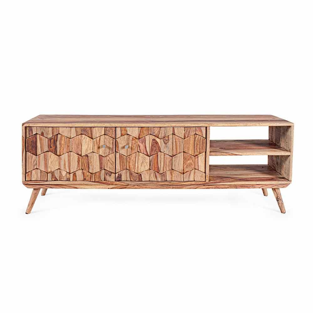 meuble tv en bois design vintage avec boutons en acier homemotion ventador