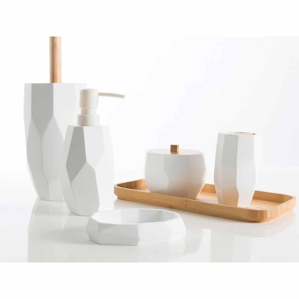 ensemble d accessoires de salle de bain design en bois et resine rivalba