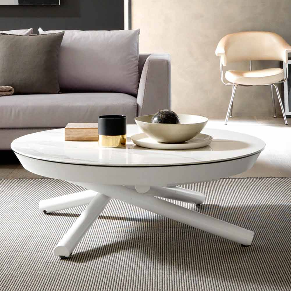 Table Basse Transformable En Ceramique Et Metal Made In Italy