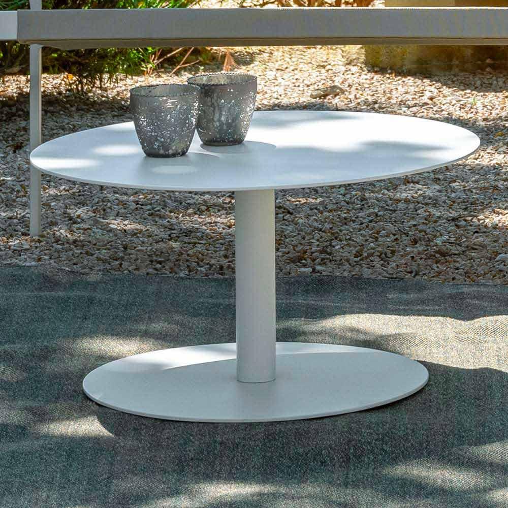 table basse de jardin ronde en aluminium blanc ou anthracite key par talenti