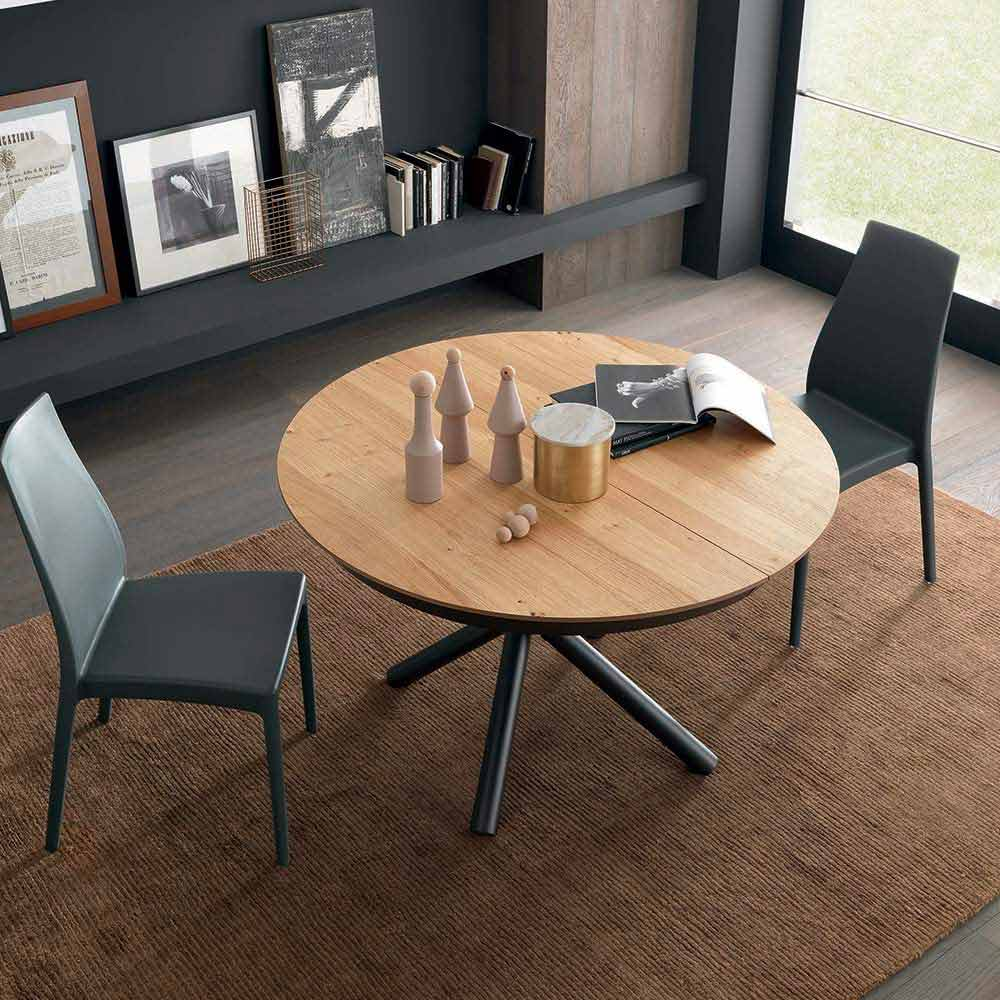 table a manger ronde extensible avec plateau en bois made in italy crodino