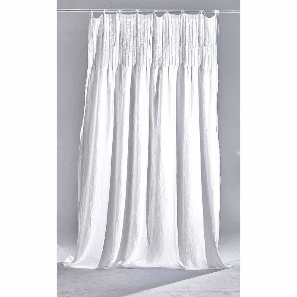 rideau en lin blanc clair avec cotele design italien de qualite tafta