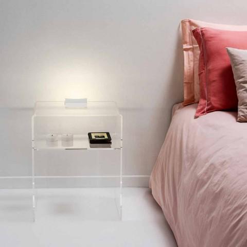 table de chevet transparente lumineuse a led adelia