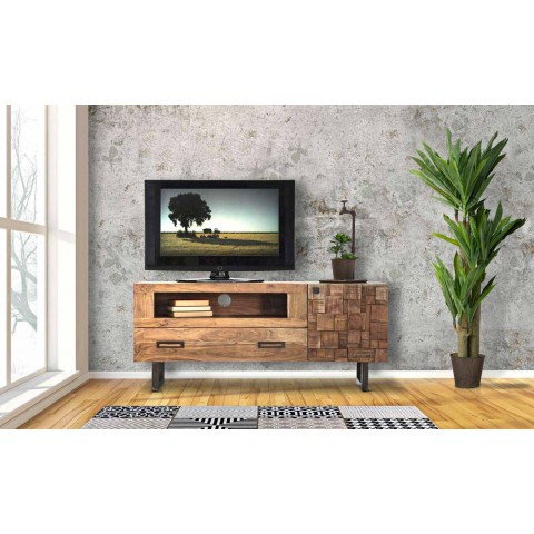 meuble tv moderne en fer et bois d acacia avec tiroir et porte deanna