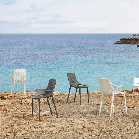 chaise de jardin empilable en plastique colore 4 pieces ibiza vondom