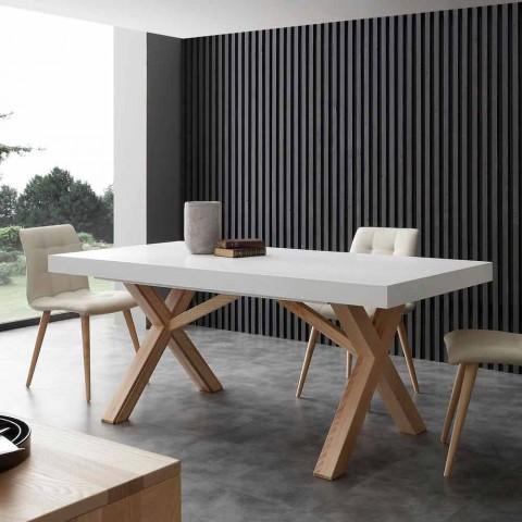 table extensible de salle a manger blanche en bois massif rico