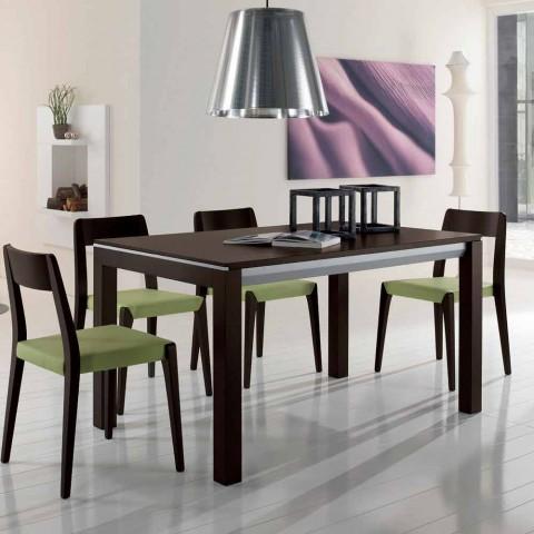 table extensible en frene avec bandes laterales peintes en gris ketla