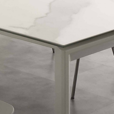 table a rallonge de design filadelfia avec plateau en verre ceramique