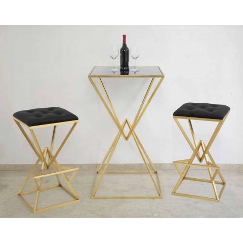 table de bar carree au design moderne en fer et verre hily