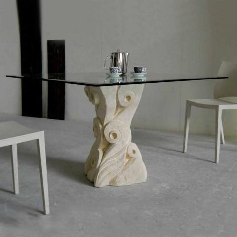 table de salle a manger giasone cristal et pierre naturelle de vicenza