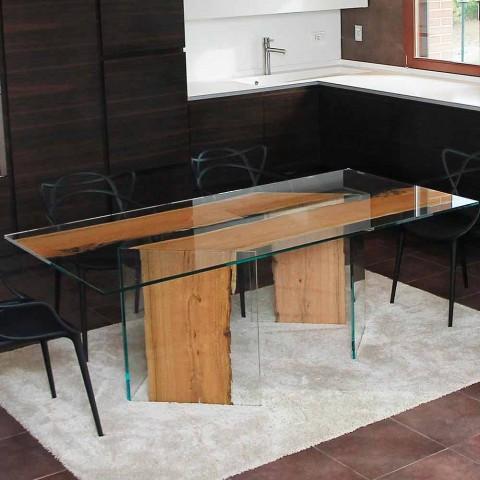 table de salle a manger en bois de briccola et verre san marco