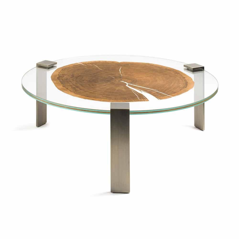 Tavolino Da Salotto Rotondo Basso Con Piano In Vetro E Legno Buck
