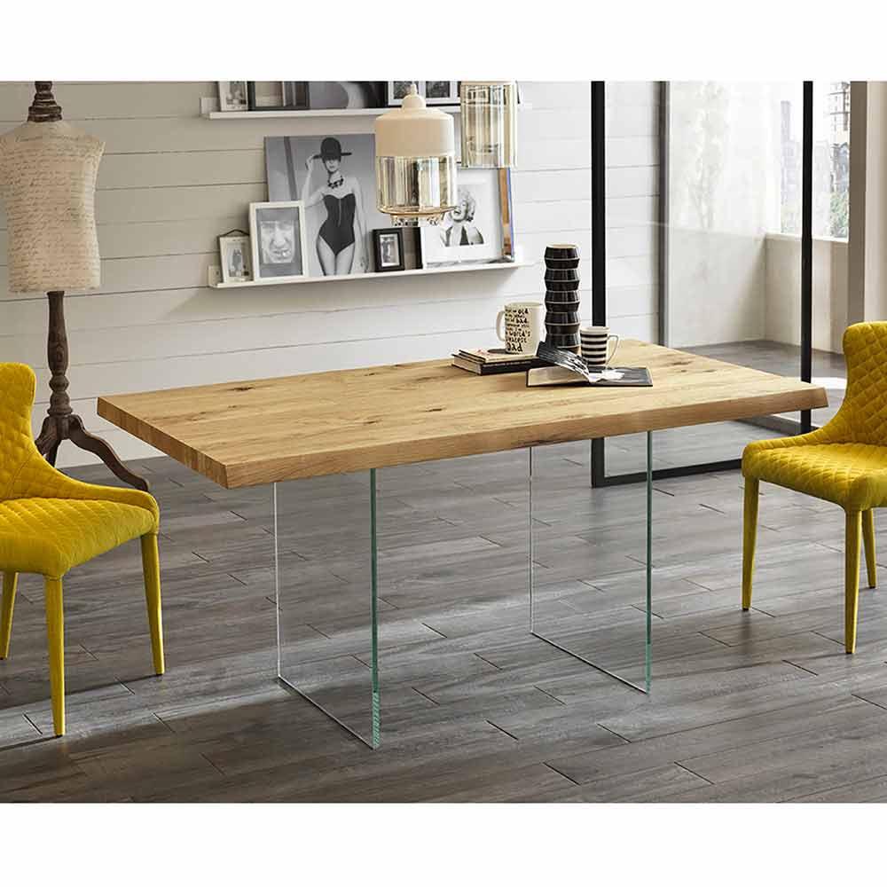 Tavolo Da Pranzo Moderno In Impiallacciato Rovere Gambe In Vetro Nico