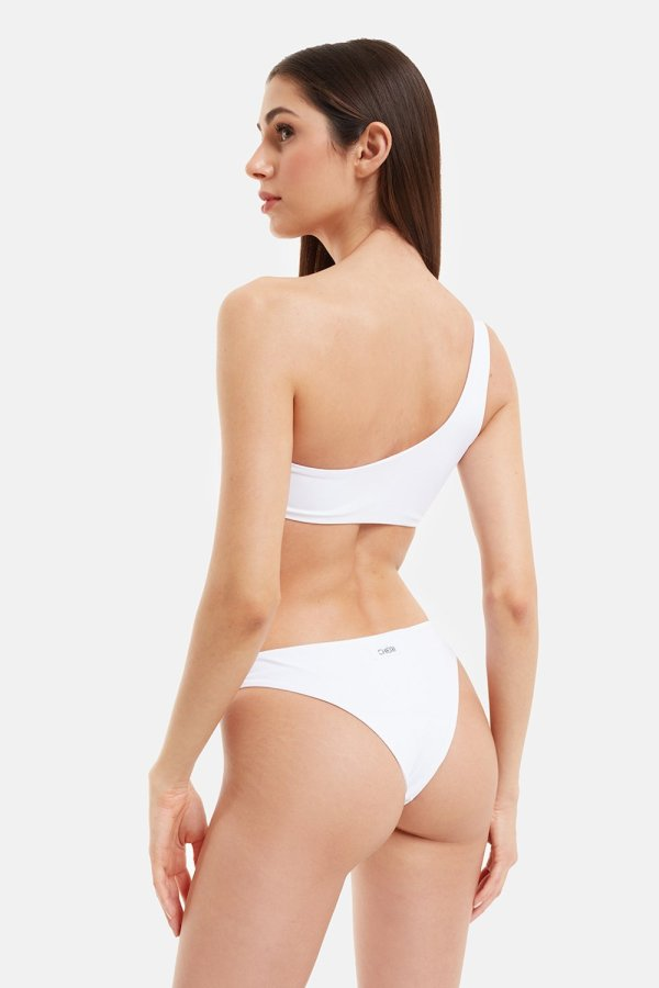 Costume Edie Bikini Monospalla Bianco Pompon Fucsia