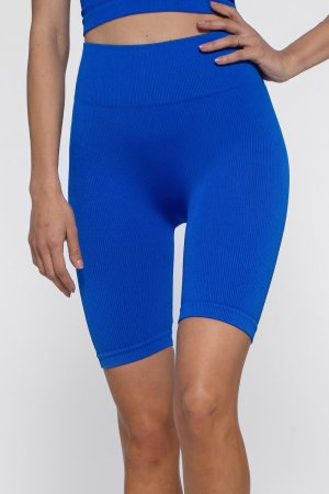 Biker Shorts Emily Shiny Blue Seamless