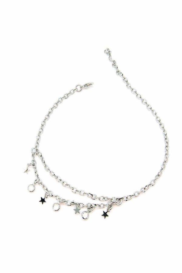 Cavigliera regolabile linea Timeless con doppia catena, stelle e cristallini bianchi