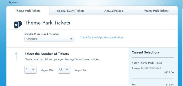 """Tela que aparecerá quando você clicar no """"Parks & Tickets""""."""