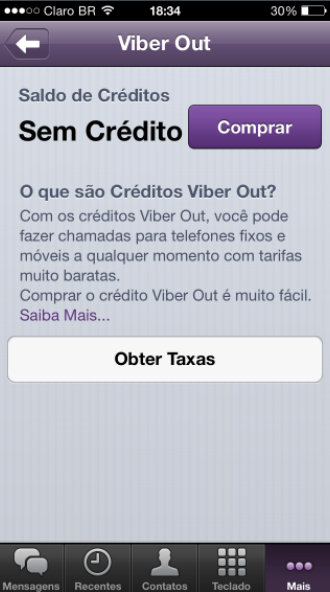 Tela do Viber no iPhone