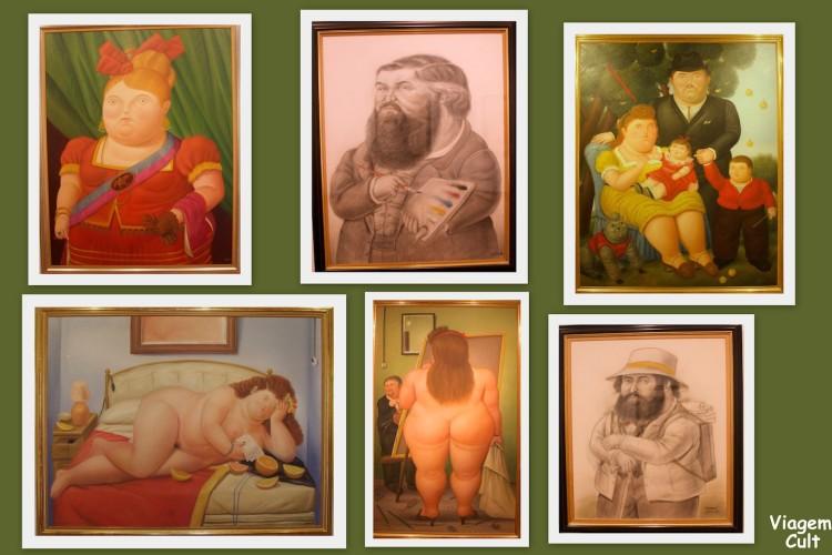 Quadros do Botero em exibição no seu museu