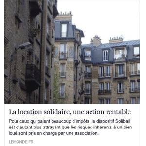 location solidaire, une action rentable - LEMONDE.FR