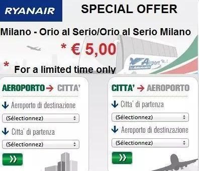 Transfert Ryanair Aeroporto – Centro città a 5€