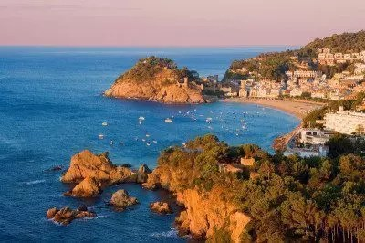 Spain Europe Catalonia Costa Brava Tossa de Mar overview coast rock cliff holidays vacation sea Mediterran