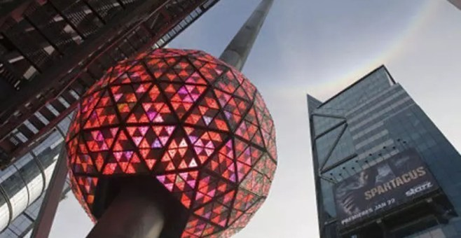 New Year's Ball Drop a New York a Capodanno