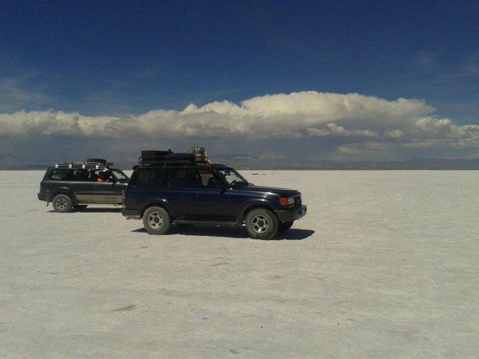le jeep nel deserto di sale