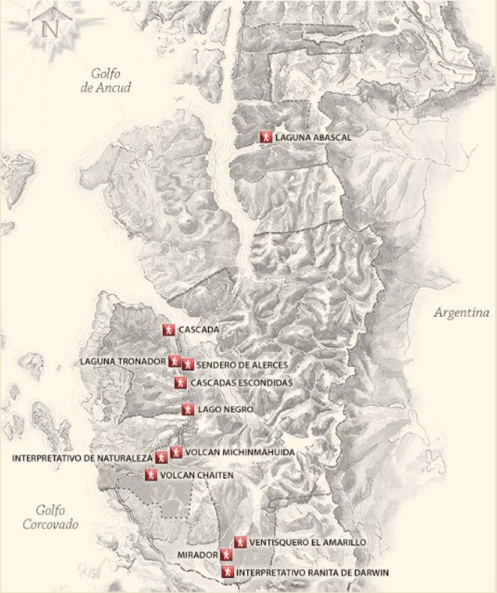 i sentieri del Parco Nazionale Pumalín Douglas Tompkins