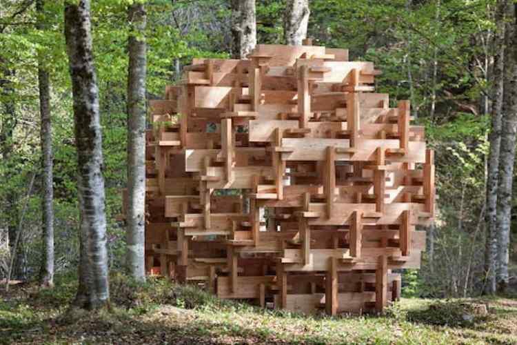l'installazione kodama di kengo kuma per arte sella architettura