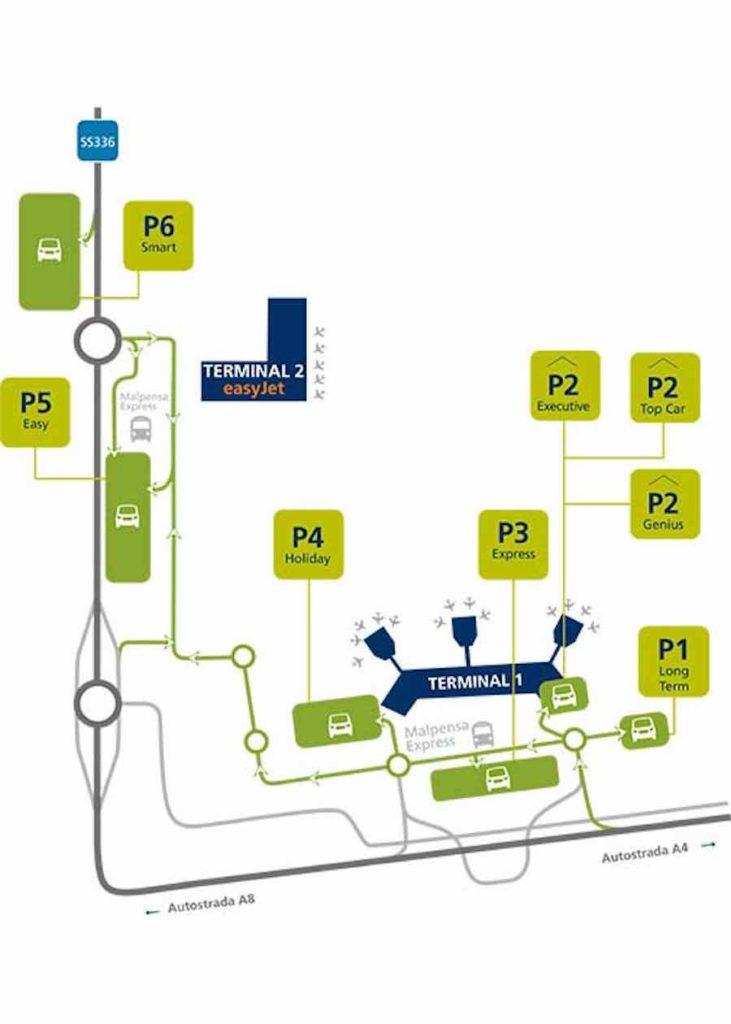mappa parcheggi sosta lunga aeroporto di milano malpensa