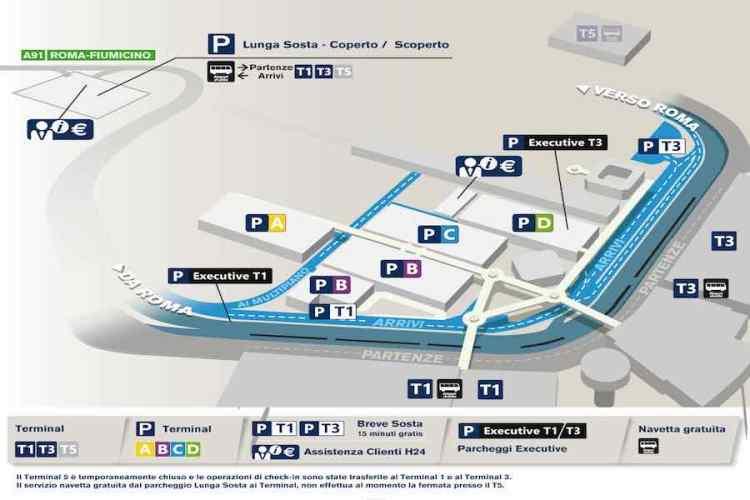 mappa dei parcheggi aeroporto di roma fiumicino