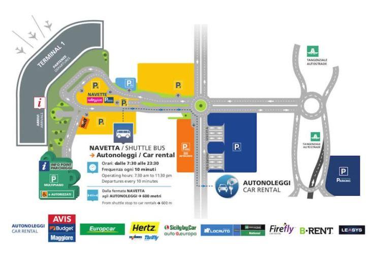mappa degli autonoleggi all'aeroporto capodichino di napoli