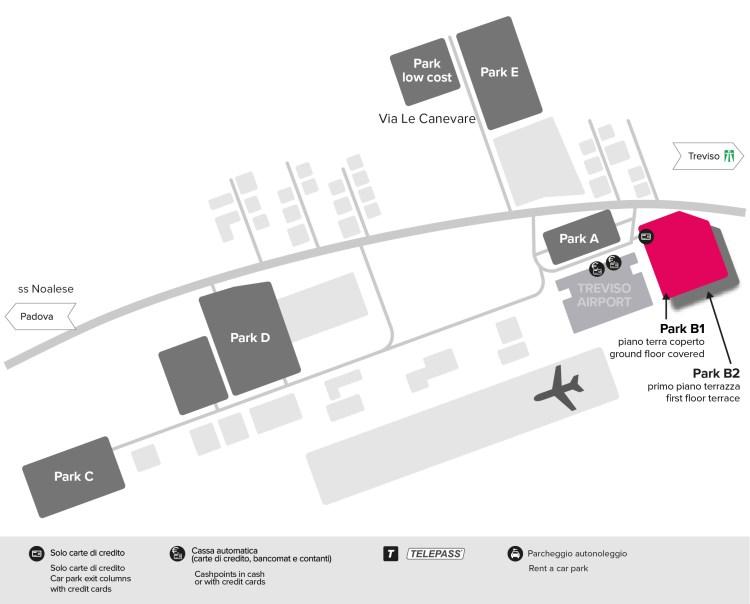 parcheggio b1 e b2 aeroporto di treviso