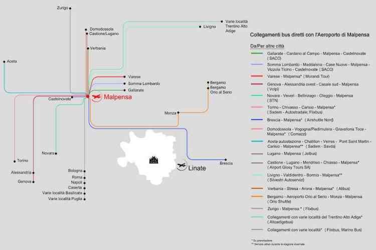 mappa delle connessioni autobus con l'aeroporto malpensa