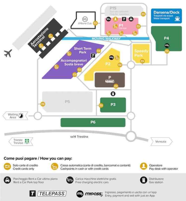 mappa parcheggi aeroporto venezia