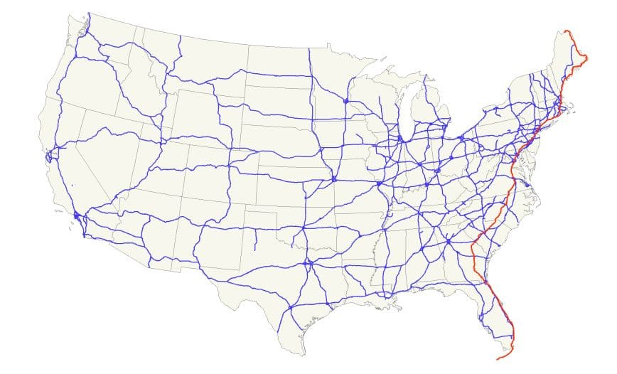 Mappa primo tratto US1
