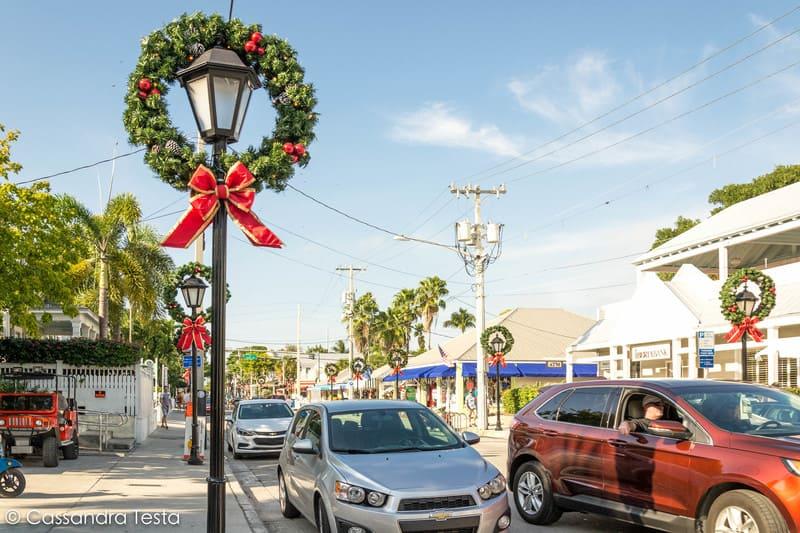 Duval Street addobbata per Natale