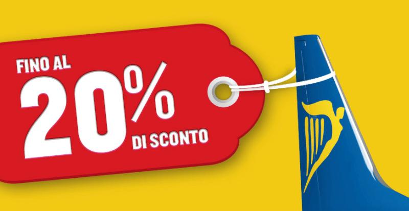 Sconto 20% sui voli Ryanair