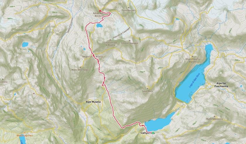 Mappa escursione rifugio Marinelli Bombardieri