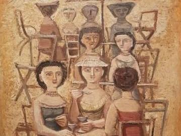Collezione Casamonti. Massimo Campigli, Donne ai tavolini - dettaglio