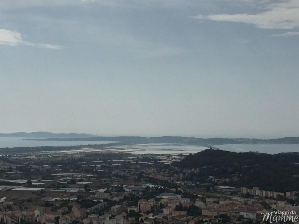 Vacanza tra Costa Azzurra e Provenza con bambini -La baia di Hyères vista dal Castello con la Penisola di Giens e le saline-