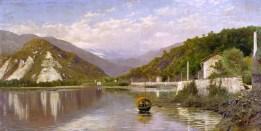 Francesco Gnecchi, Fondo Toce (Lago Maggiore) o Il Sempione dal Lago Maggiore, 1884, olio su tela, cm 75,5 x 149, Gallerie d'Italia